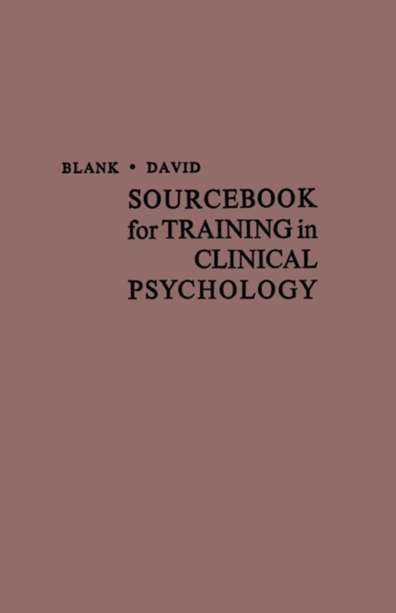 Sourcebook for Training in Clinical Psychology