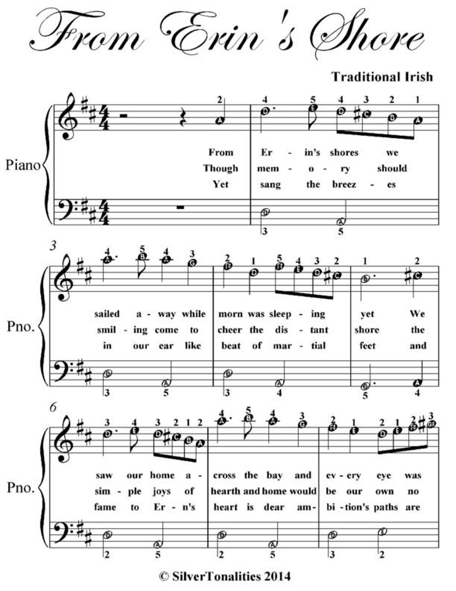 From Erin's Shore - Easy Piano Sheet Music