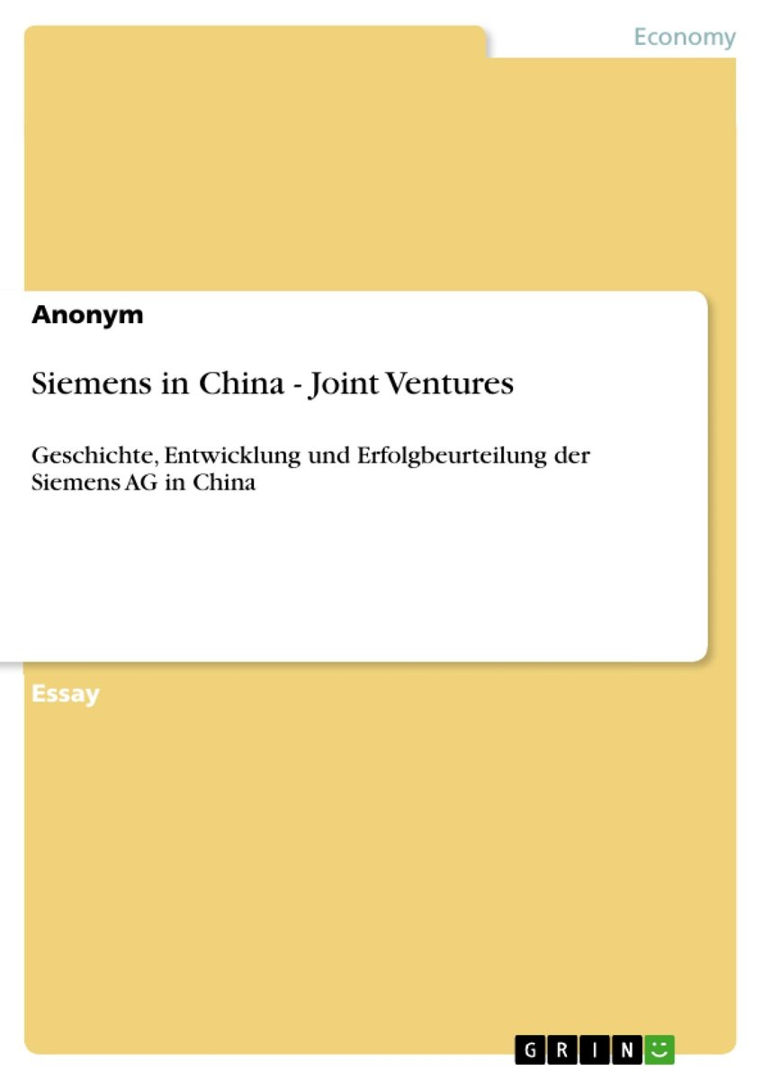 Siemens in China - Joint Ventures