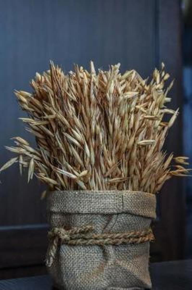 A Sheaf of Golden Wheat in a Rustic Burlap Bag Harvest Journal