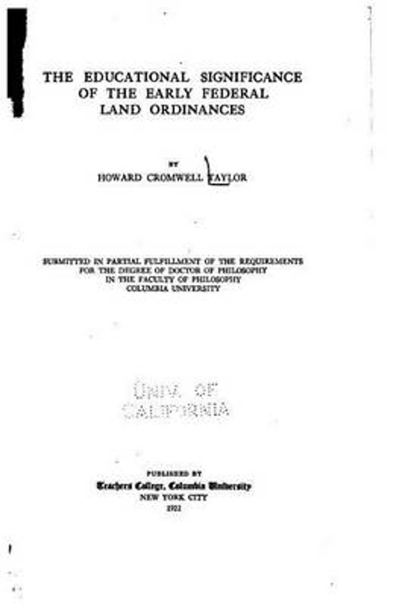 The Educational Significance of the Early Federal Land Ordinances