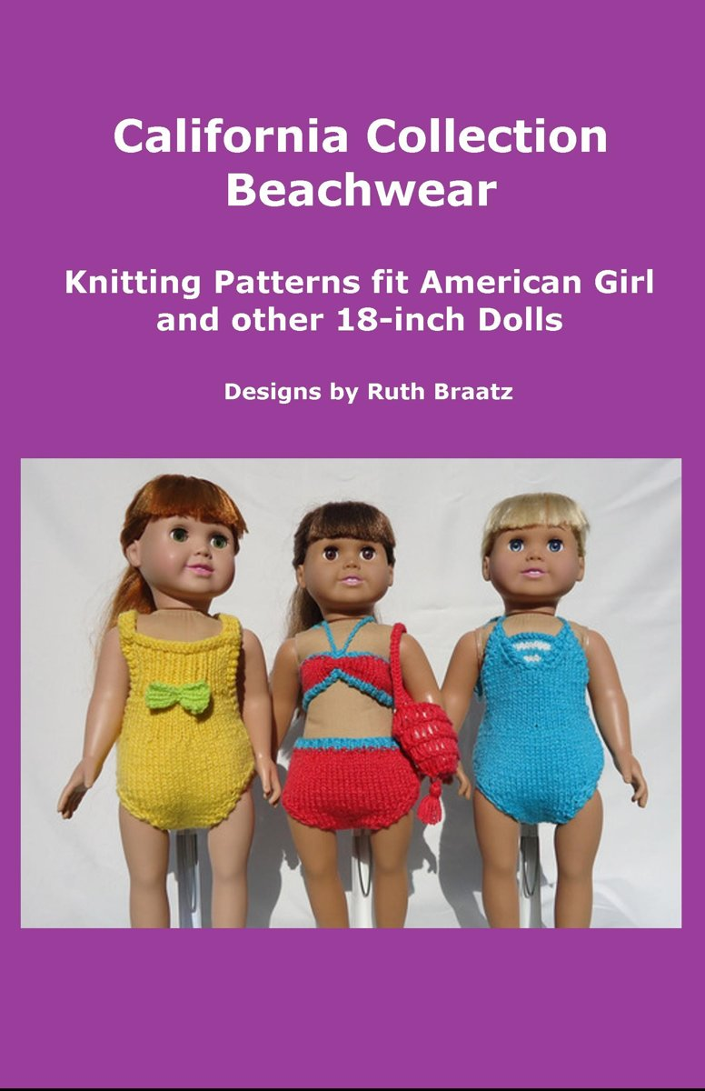 California Collection Beachwear, Knitting Patterns fit American Girl and other 18-Inch Dolls