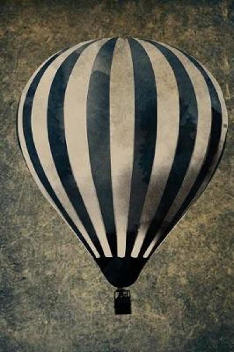 Vintage Black and White Striped Hot Air Balloon Illustration Journal