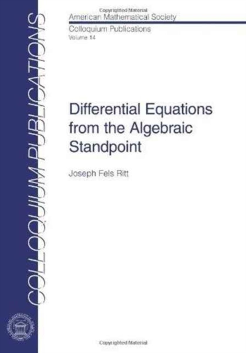Differential Equations from the Algebraic Standpoint