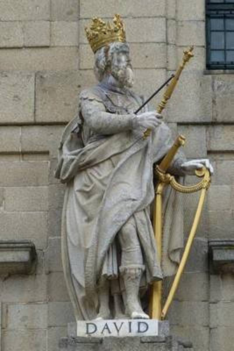 King David with a Harp in Madrid Spain Journal