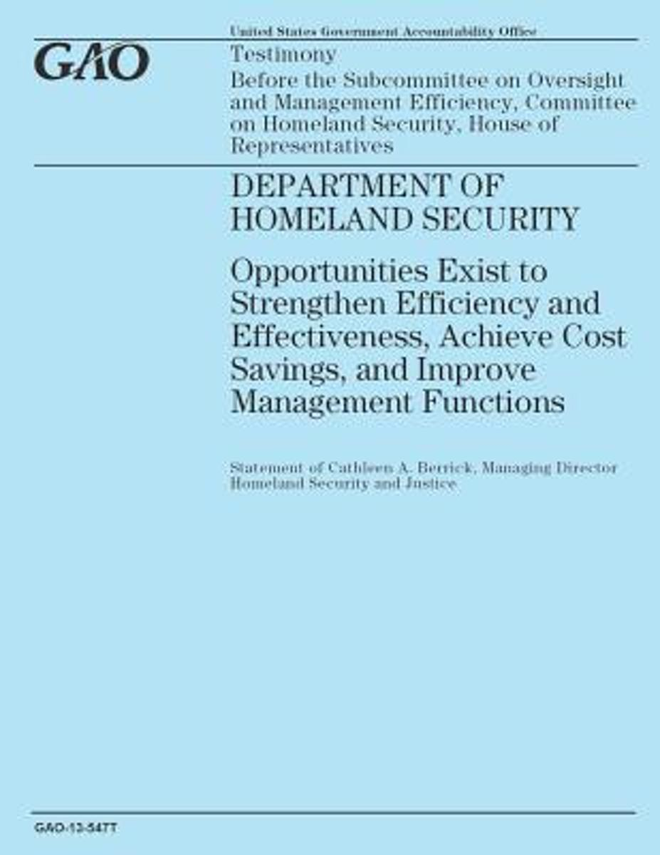 Testimony Before the Subcommittee on Oversight and Management Efficiency, Committee on Homeland Security, House of Representatives