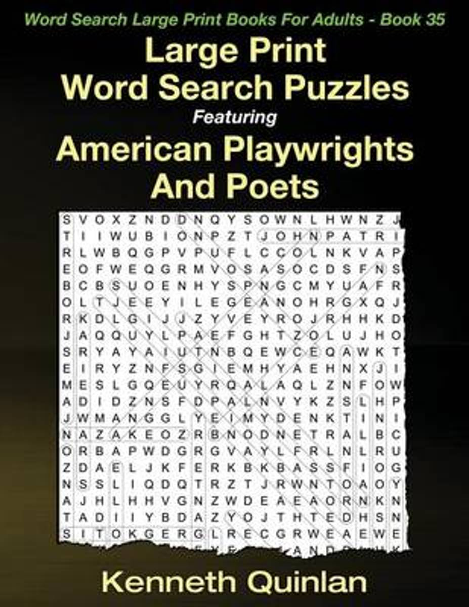 Large Print Word Search Puzzles Featuring American Playwrights and Poets