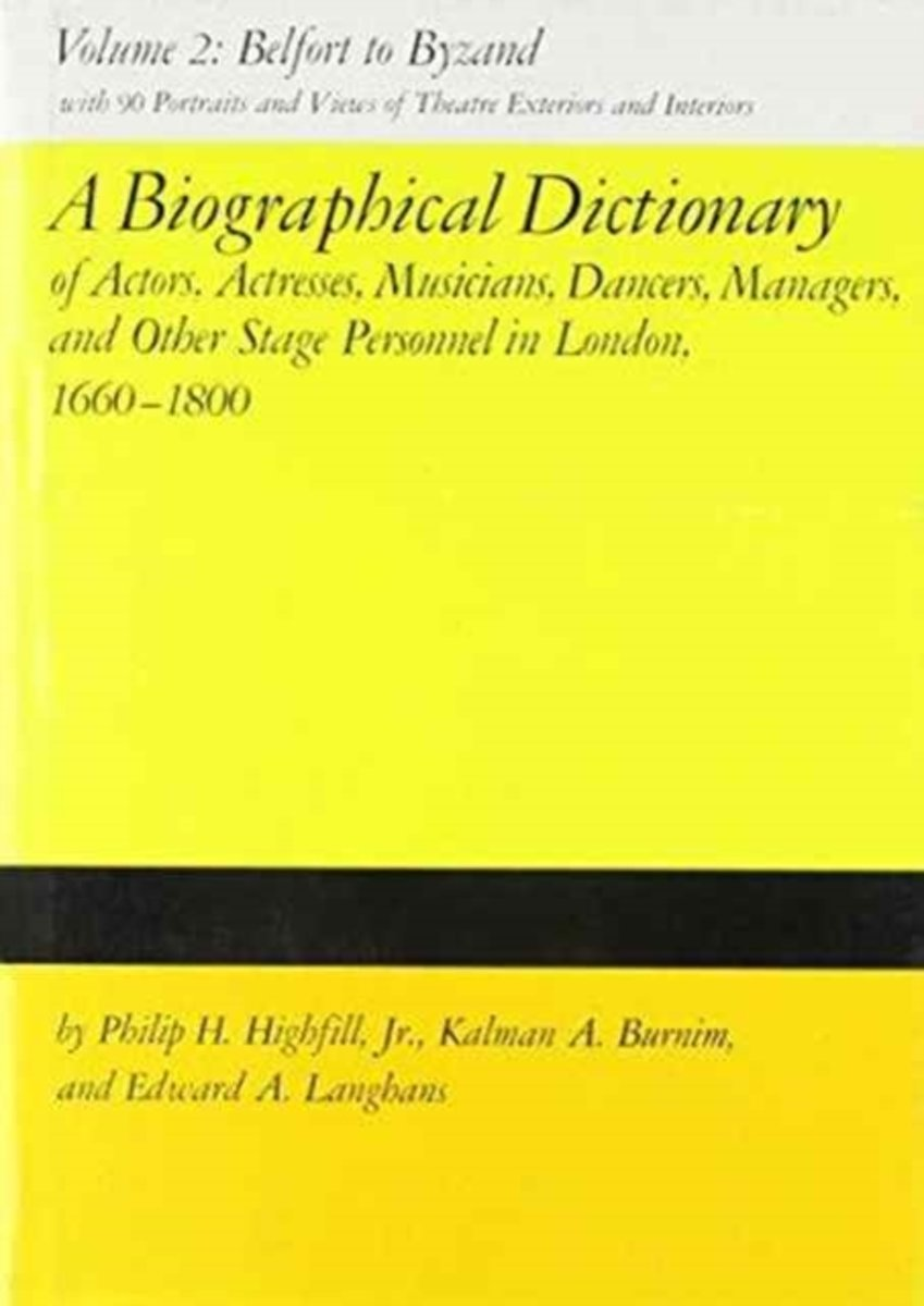 A Biographical Dictionary of Actors, Actresses, Musicians, Dancers, Managers and Other Stage Personnel in London, 1660-1800 v. 2