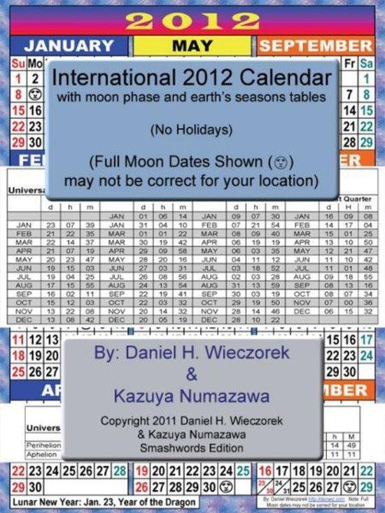 2012 International Calendar With Moon Phase Table