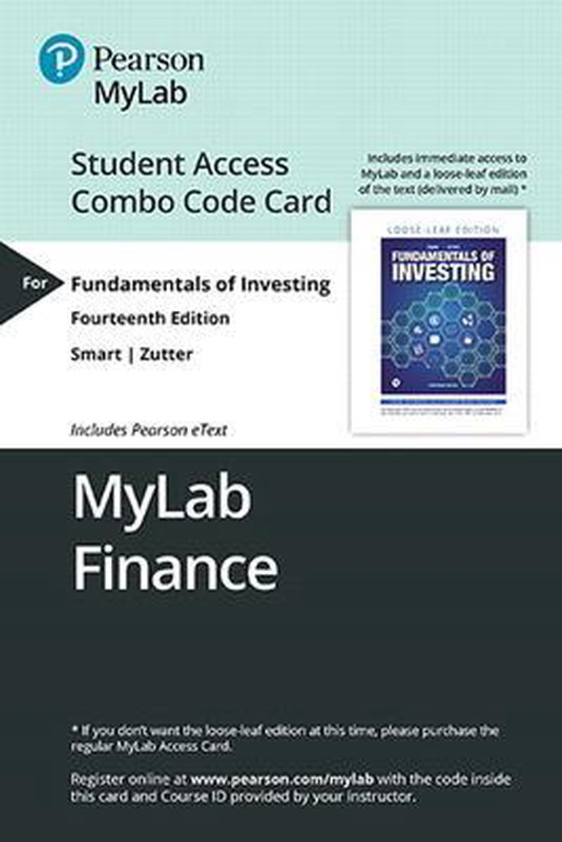 Mylab Finance with Pearson Etext -- Combo Access Card -- For Fundamentals of Investing [With Access Code]