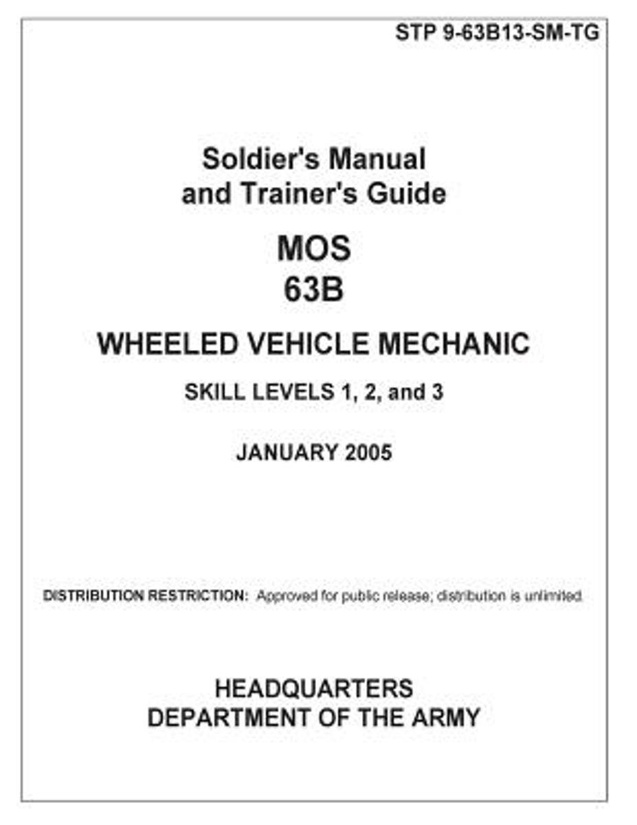 Soldier Training Publication Stp 9-63b13-SM-Tg Soldier's Manual and Trainer's Guide Mos 63b Wheeled Vehicle Mechanic Skill Levels 1, 2, and 3 January 2005