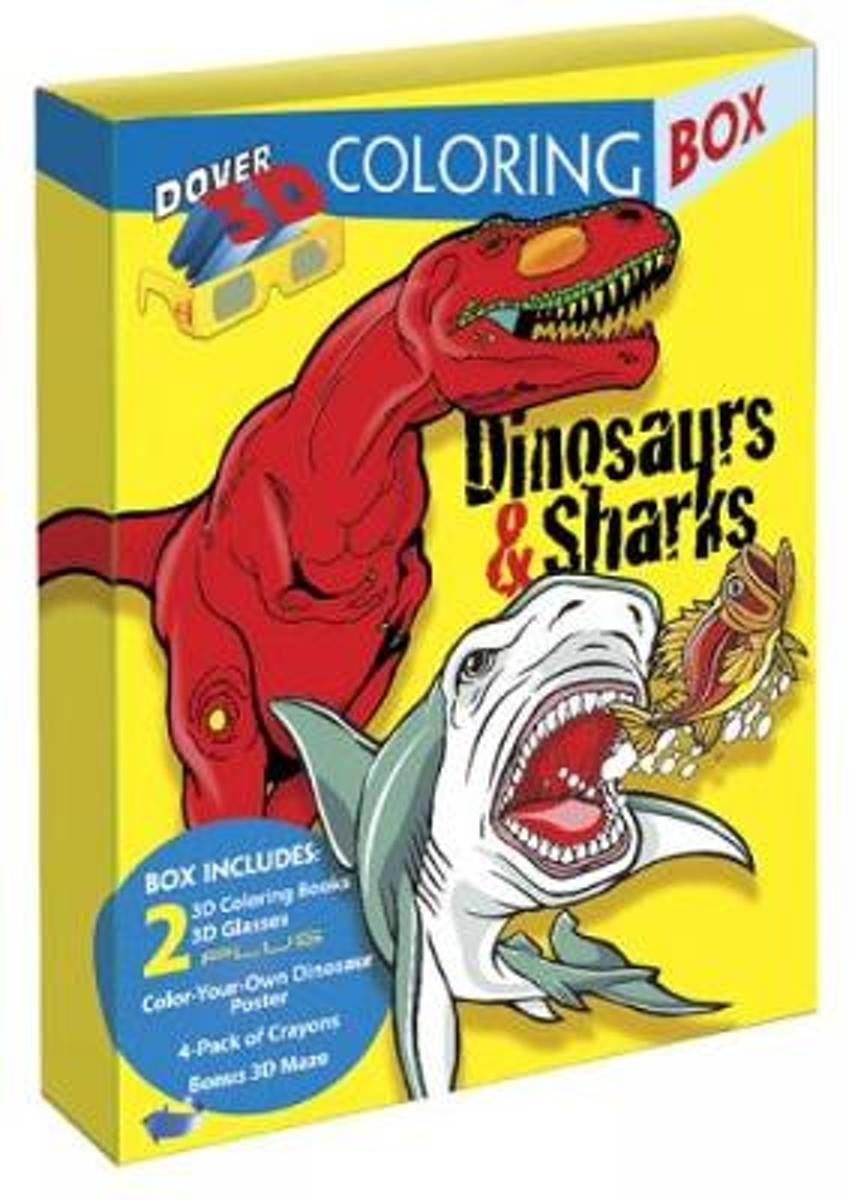 Dinosaurs and Sharks 3-D Coloring Box