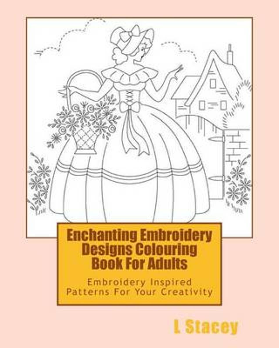 Enchanting Embroidery Designs Colouring Book for Adults