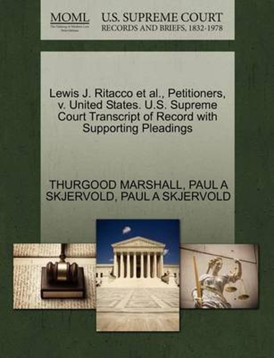 Lewis J. Ritacco et al., Petitioners, V. United States. U.S. Supreme Court Transcript of Record with Supporting Pleadings