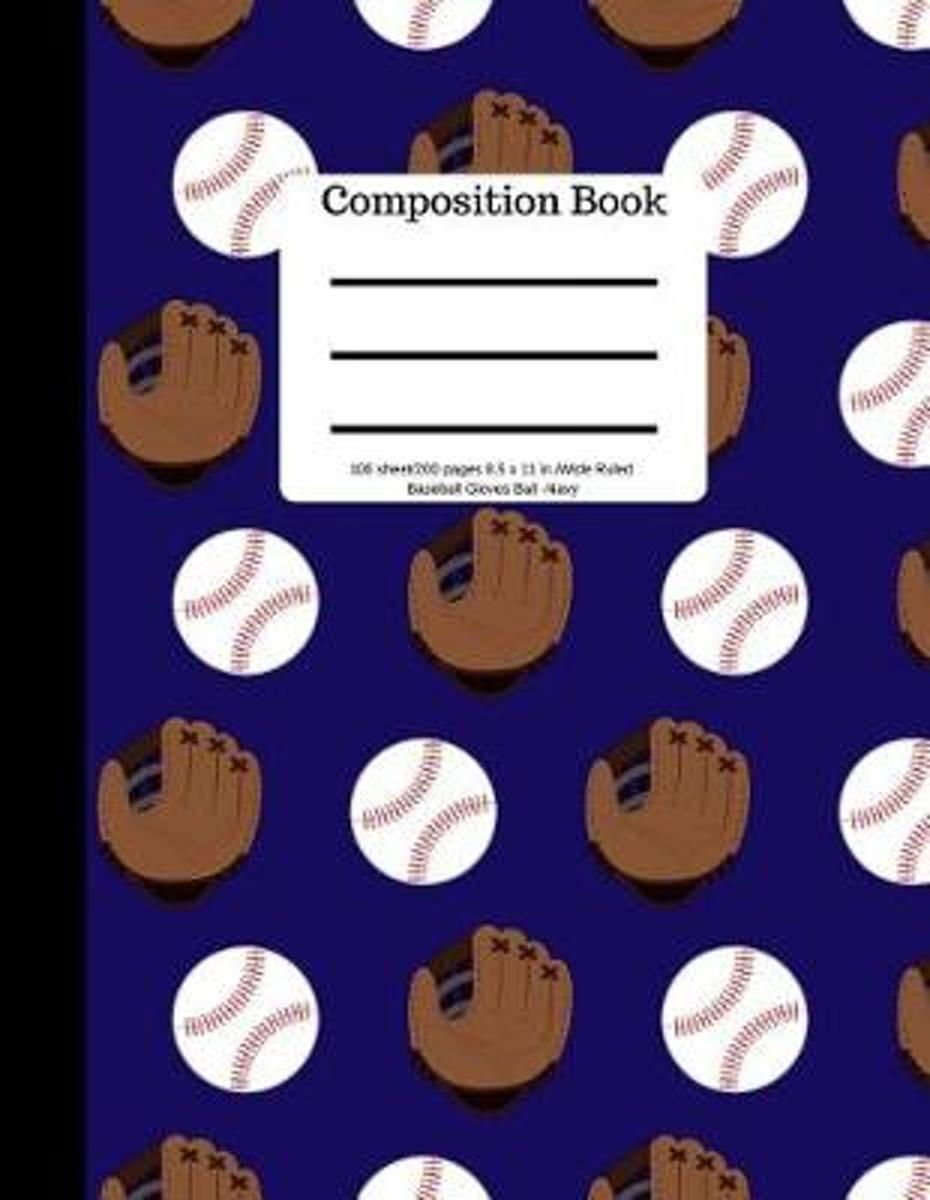 Composition Book 100 Sheet/200 Pages 8.5 X 11 In.Wide Ruled Baseball Navy Gloves
