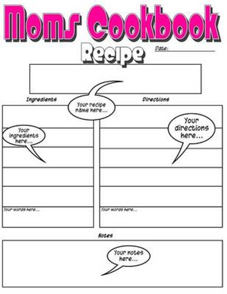 Moms Cookbook - Basic Blank Recipe Book Just for Mom