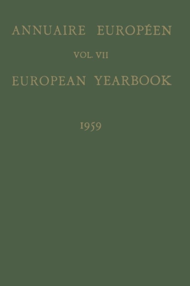 Annuaire Europeen / European Yearbook