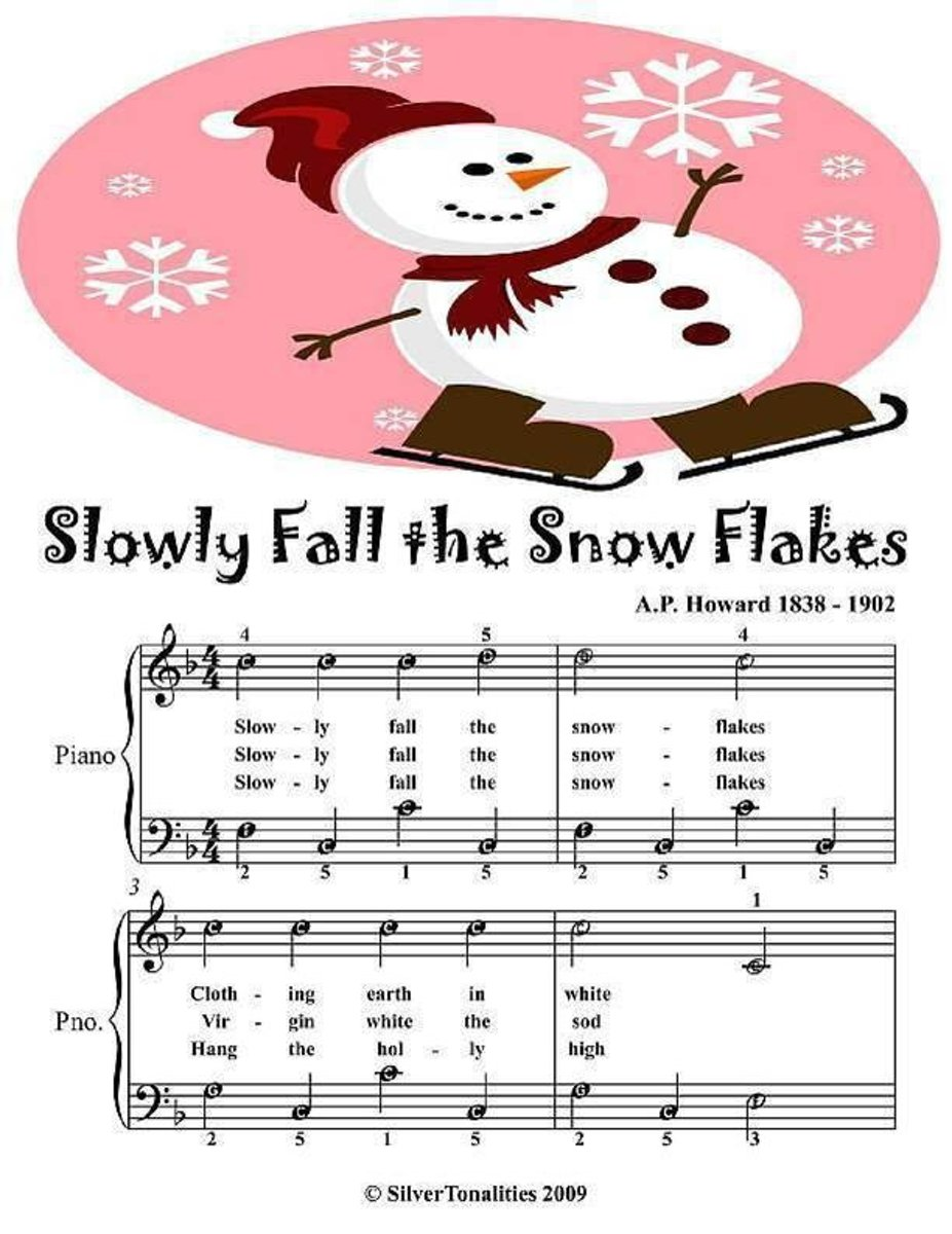Slowly Fall the Snowflakes - Easy Piano Sheet Music