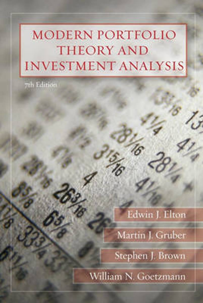 Modern Portfolio Theory and Investment Analysis