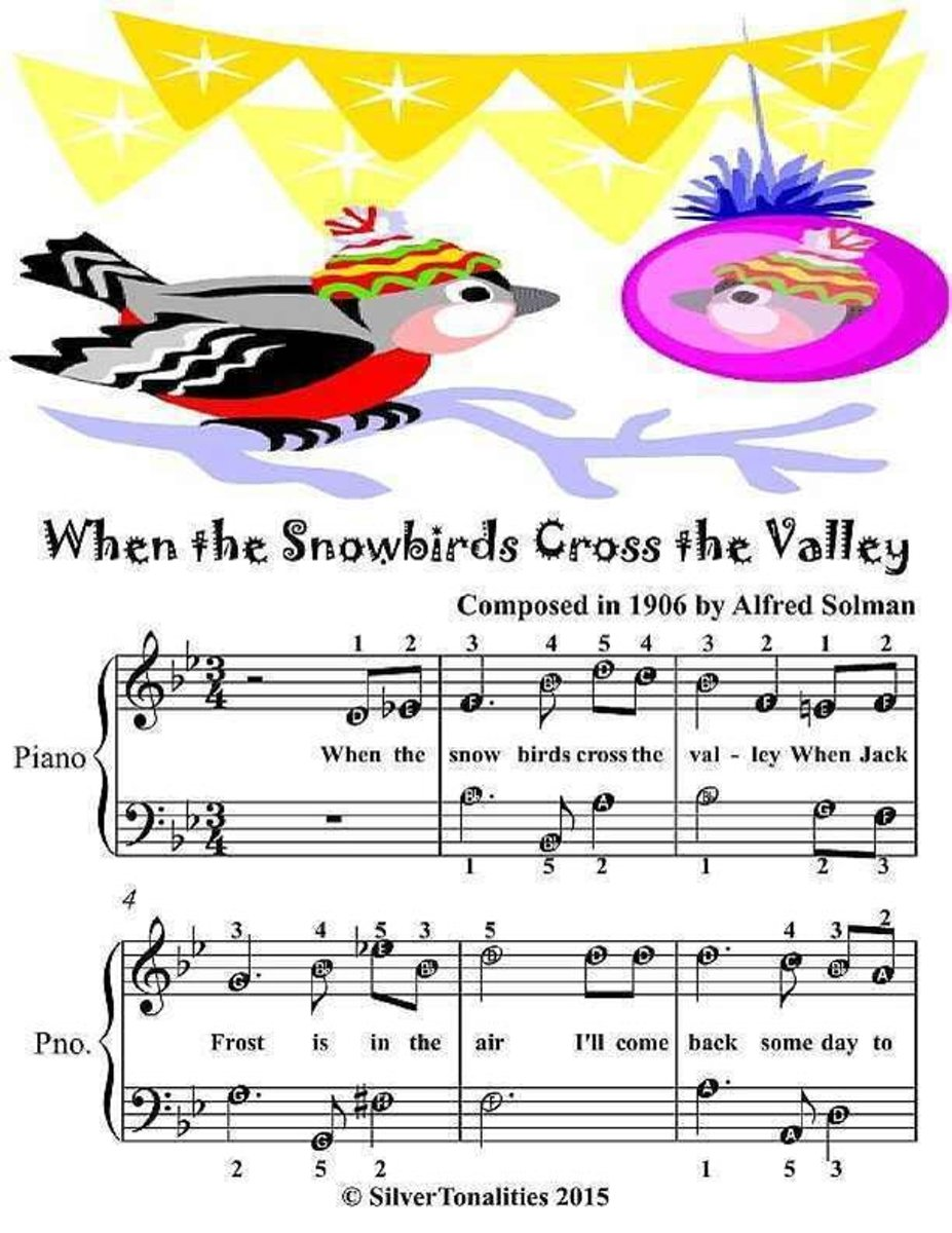 When the Snowbirds Cross the Valley - Easiest Piano Sheet Music Junior Edition