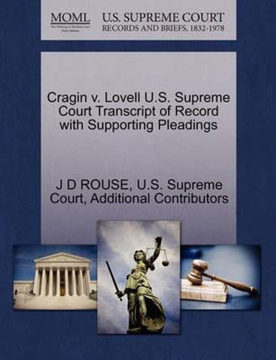 Cragin V. Lovell U.S. Supreme Court Transcript of Record with Supporting Pleadings