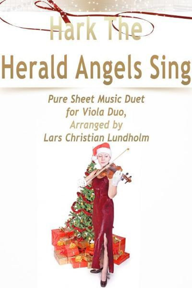 Hark The Herald Angels Sing Pure Sheet Music Duet for Viola Duo, Arranged by Lars Christian Lundholm