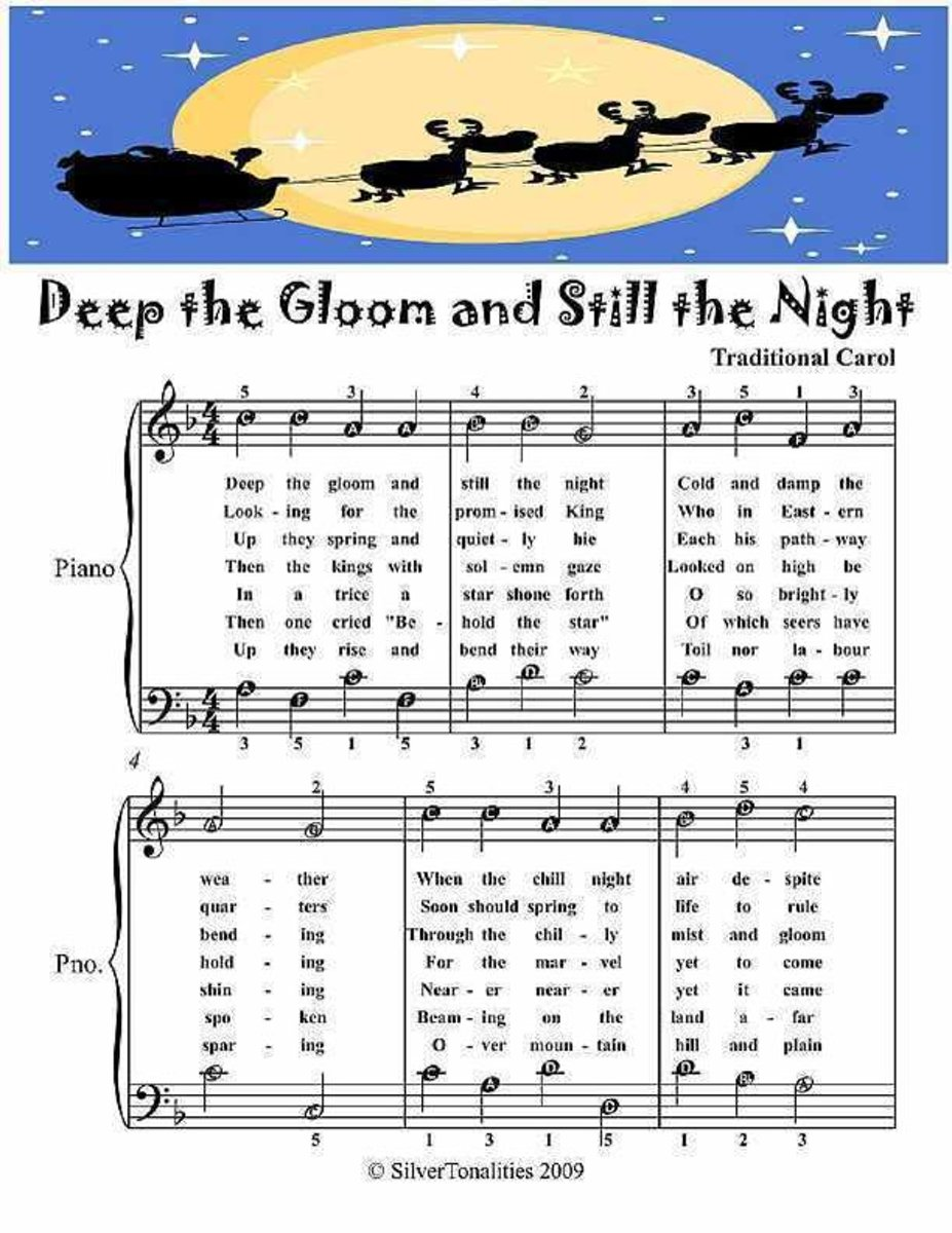 Deep the Gloom and Still the Night - Easy Piano Sheet Music Junior Edition