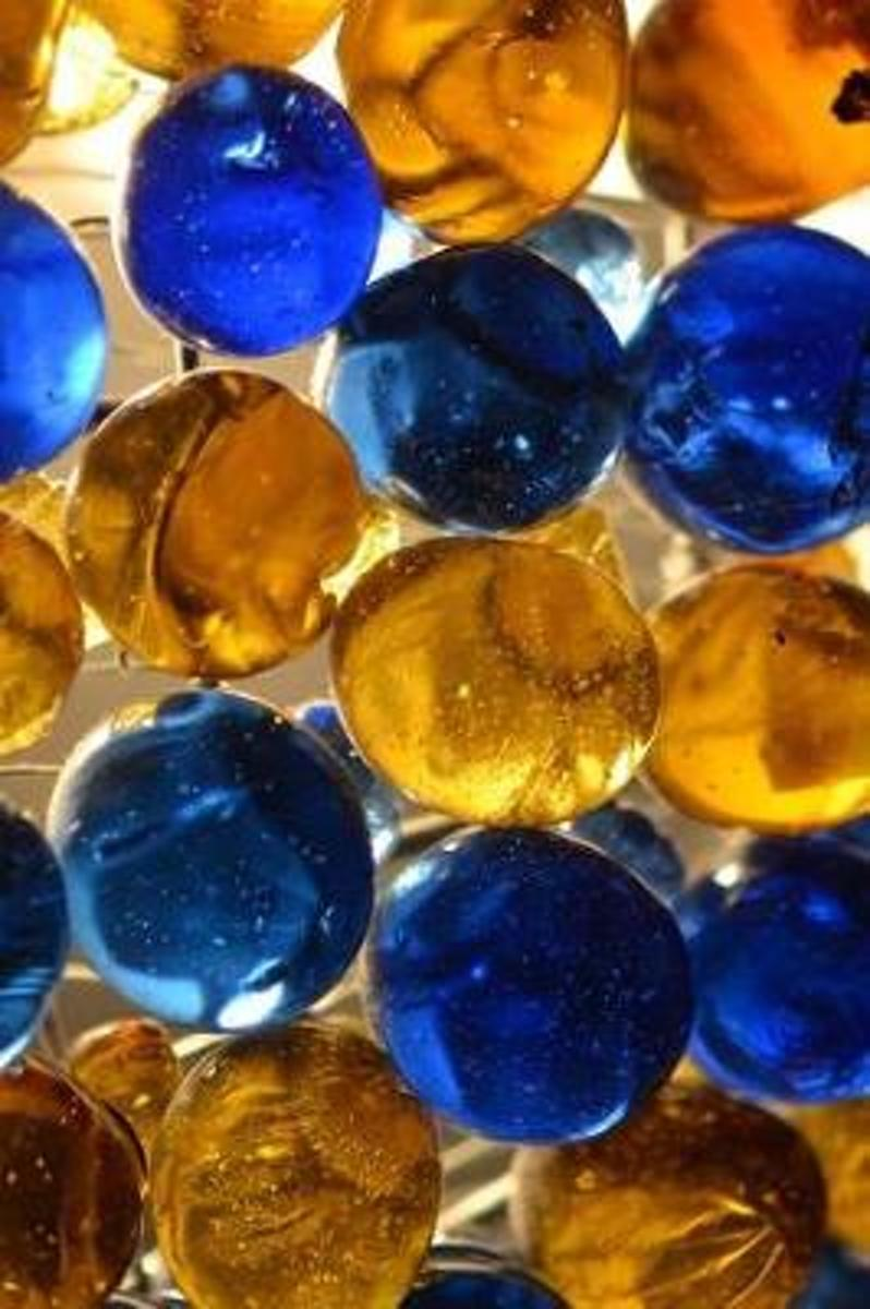Glowing Bright Blue and Gold Marbles Journal